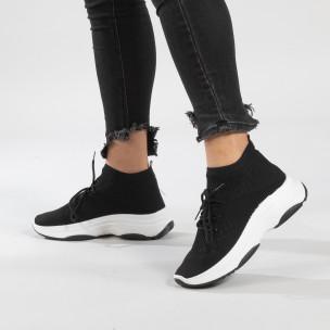 Дамски Chunky маратонки тип чорап в черно