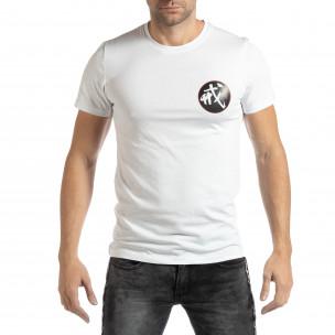 Мъжка бяла тениска с източен мотив