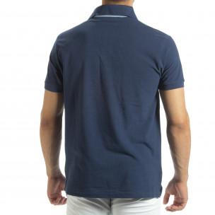 Мъжки син polo shirt със синьо столче  2