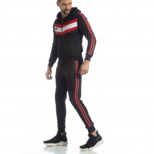 Черен мъжки спортен комплект с качулка и кантове