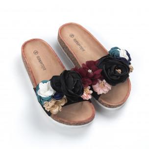 Черни дамски чехли флорален дизайн  2