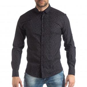 Мъжка Slim fit риза с тъмно син десен  2