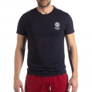 Тъмносиня мъжка тениска с лого кант  2