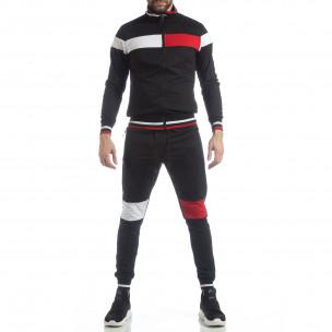 Мъжки черен спортен комплект с права яка 2