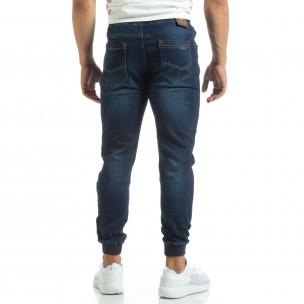 Мъжки сини тънки дънки с трикотажни маншети  2