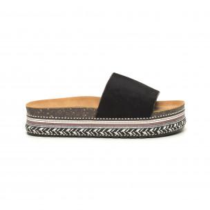 Черни дамски чехли декорирана платформа