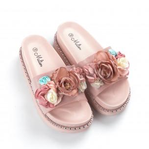 Розови дамски чехли с цветя 2