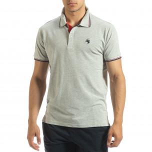 Мъжка тениска polo shirt в сиво