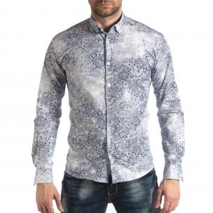 Slim fit мъжка риза Vintage десен в бяло