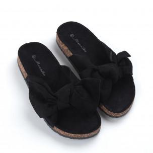 Черни дамски чехли с панделка 2