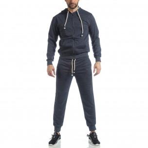 Спортен мъжки комплект в син меланж  2