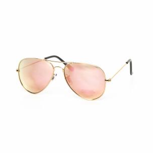Огледални пилотски слънчеви очила в светло розово