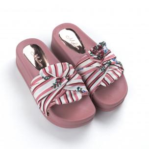 Розови дамски чехли на гумена платформа  2