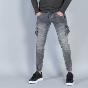 Рокерски мъжки Cargo Jeans в сиво