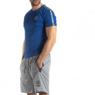 Яркосиня мъжка тениска с лого кант