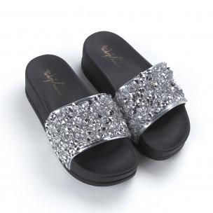 Дамски сребристи чехли на платформа 2