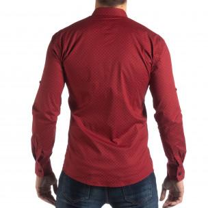 Мъжка вталена риза с червен кръстовиден десен 2
