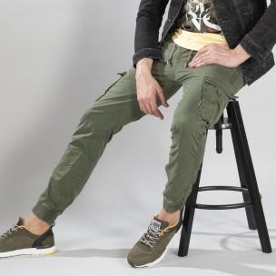 Зелен карго панталон с трикотажни маншети