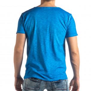 Мъжка тениска Vintage стил в ярко синьо  2