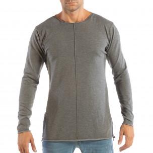 Сива мъжка блуза от плетена материя с ципове