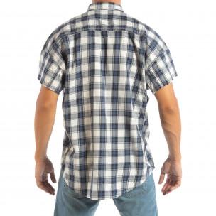 Regular риза с къс ръкав RESERVED синьо каре  2