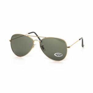 Пилотски черни слънчеви очила златиста рамка