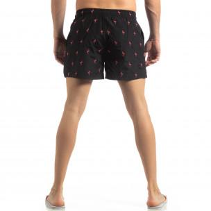 Мъжки черен бански Flamingo мотив  2