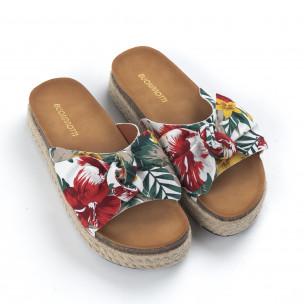 Дамски чехли с флорален десен и панделка  2