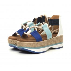 Дамски сандали морски дизайн в синьо и бяло  2
