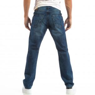 Сини мъжки Regular fit дънки с изпран ефект  2