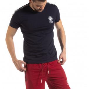 Тъмносиня мъжка тениска с лого кант