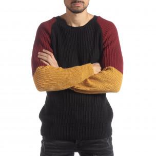 Мъжки пуловер в черно, жълто и червено