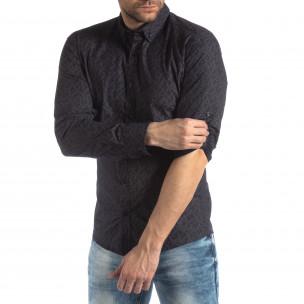Мъжка Slim fit риза с тъмно син десен