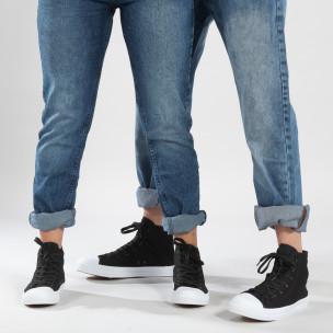 Високи черни кецове за двойки изчистен модел