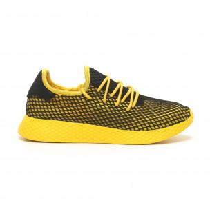 Жълти мъжки маратонки Mesh черна пета