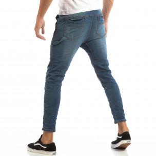 Сини мъжки дънки с ластик на кръста