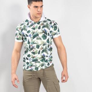 Флорална мъжка тениска с яка в бяло