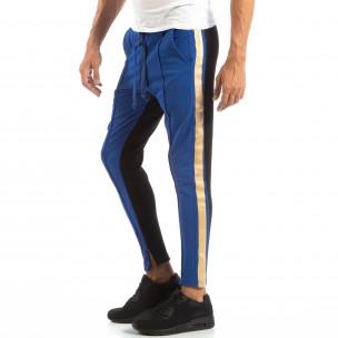 Мъжки Jogger в синьо и черно с кантове и ципове  2
