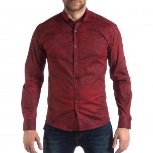 Slim fit мъжка риза Vintage десен в бордо