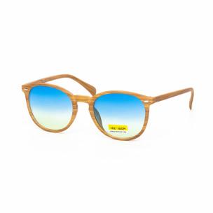 Опушени сини очила дървесна рамка натурална