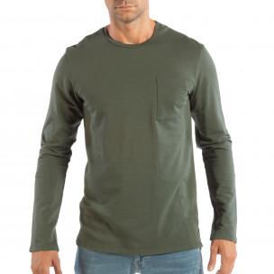 Basic мъжка зелена блуза от памук