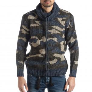 Мъжки пуловер с поло яка син камуфлаж