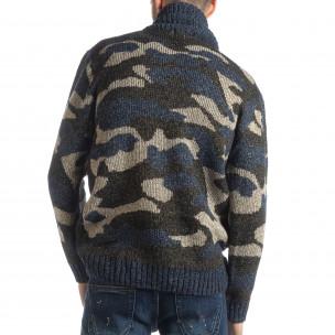 Мъжки пуловер с голяма яка син камуфлаж 2