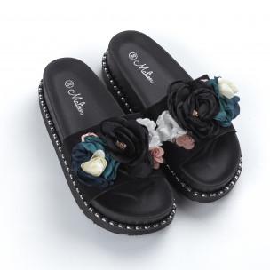 Черни дамски чехли с цветя  2