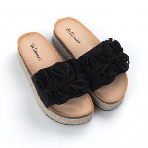 Дамски черни чехли с конопен кант 2