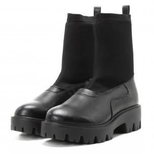 Дамски черни боти тип чорап с грайфери  2
