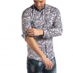 Мъжка бяла риза кашмирен десен с червено  2