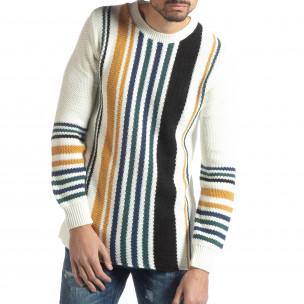 Мъжки колоритен раиран пуловер с бяло