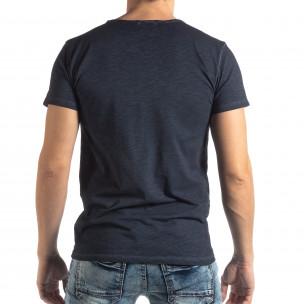 Мъжка тениска Vintage стил в тъмно синьо 2