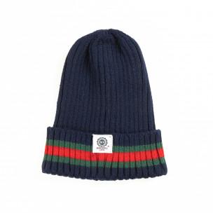 Мъжка синя плетена шапка с кант